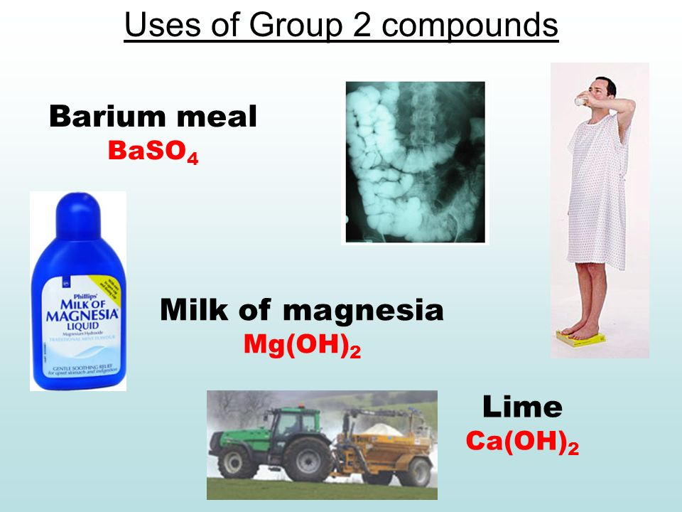 Uses of Group 2 compounds