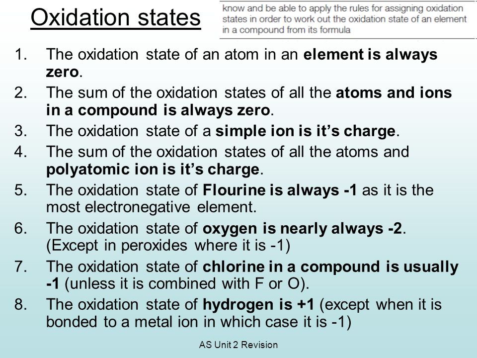 Oxidation states The oxidation state of an atom in an element is always zero.
