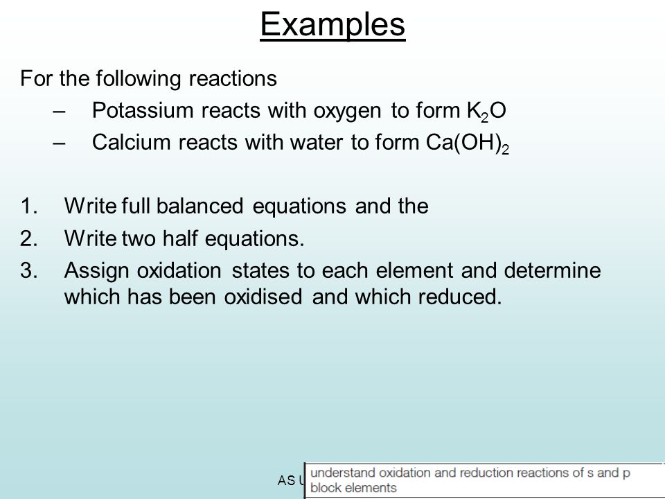 Examples For the following reactions