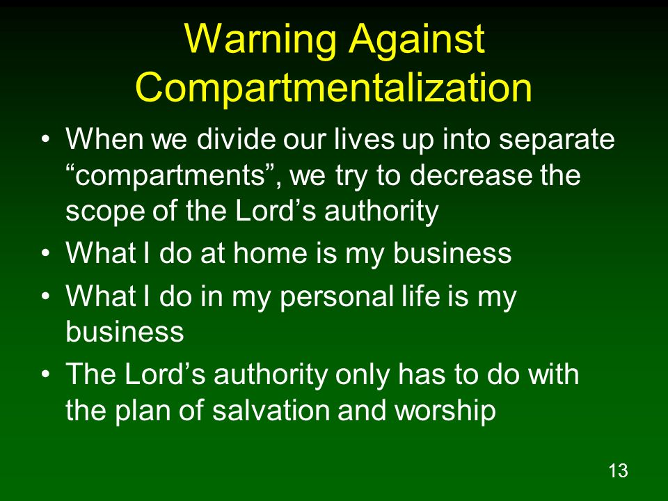 Warning Against Compartmentalization