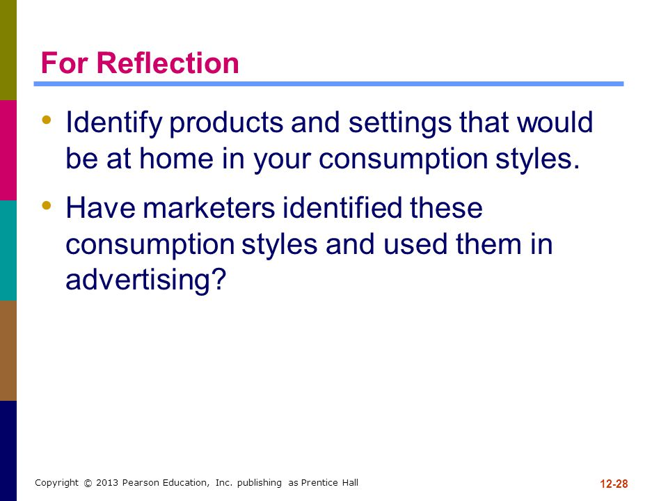 For Reflection Identify products and settings that would be at home in your consumption styles.