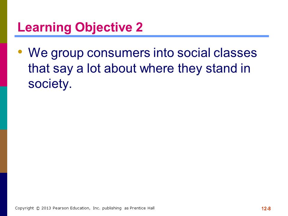Learning Objective 2 We group consumers into social classes that say a lot about where they stand in society.