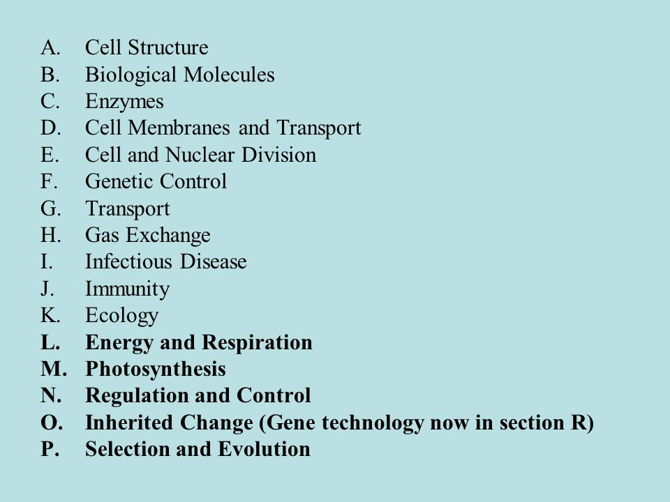 Cell Structure Biological Molecules. Enzymes. Cell Membranes and Transport. Cell and Nuclear Division.