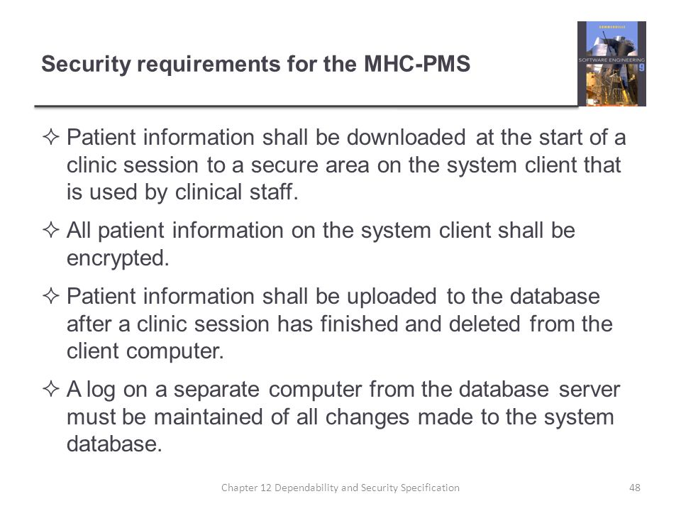 Security requirements for the MHC-PMS