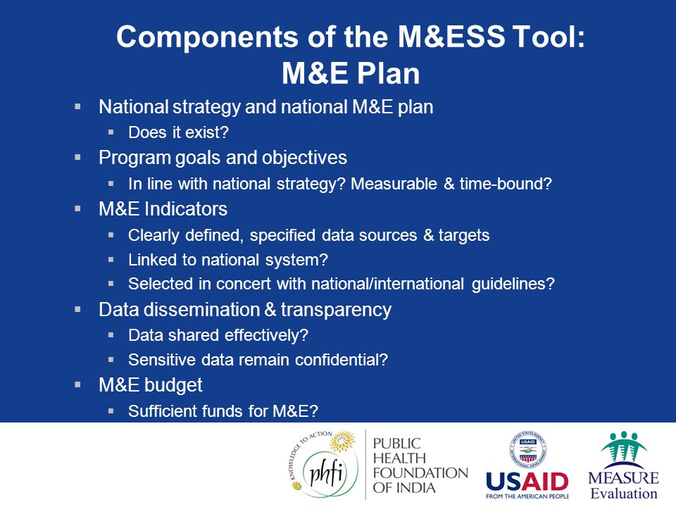 Components of the M&ESS Tool: M&E Plan