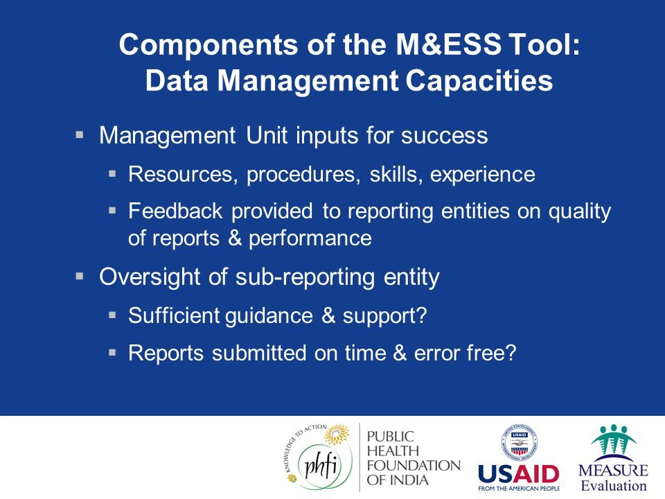 Components of the M&ESS Tool: Data Management Capacities