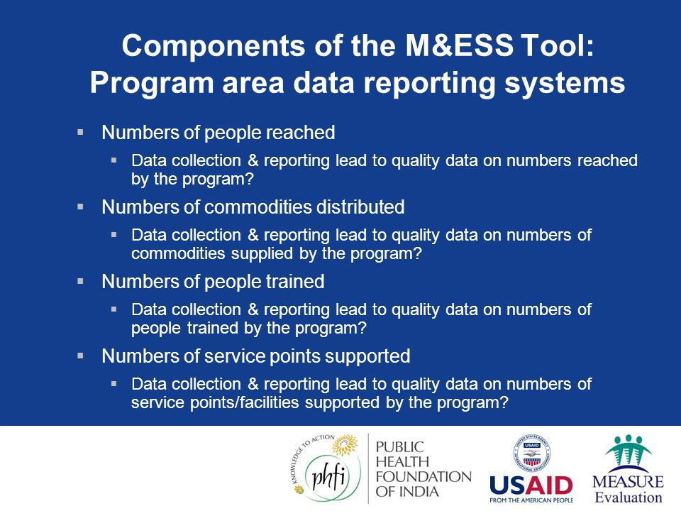 Components of the M&ESS Tool: Program area data reporting systems