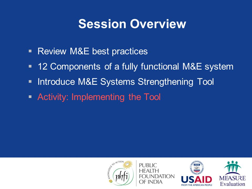 Session Overview Review M&E best practices
