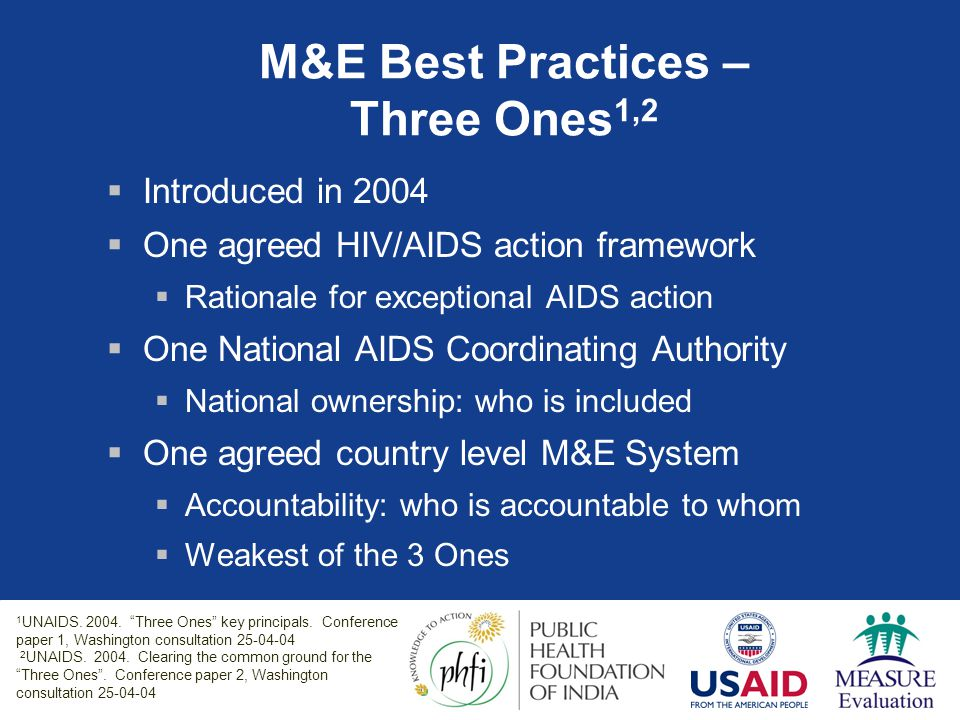 M&E Best Practices – Three Ones1,2