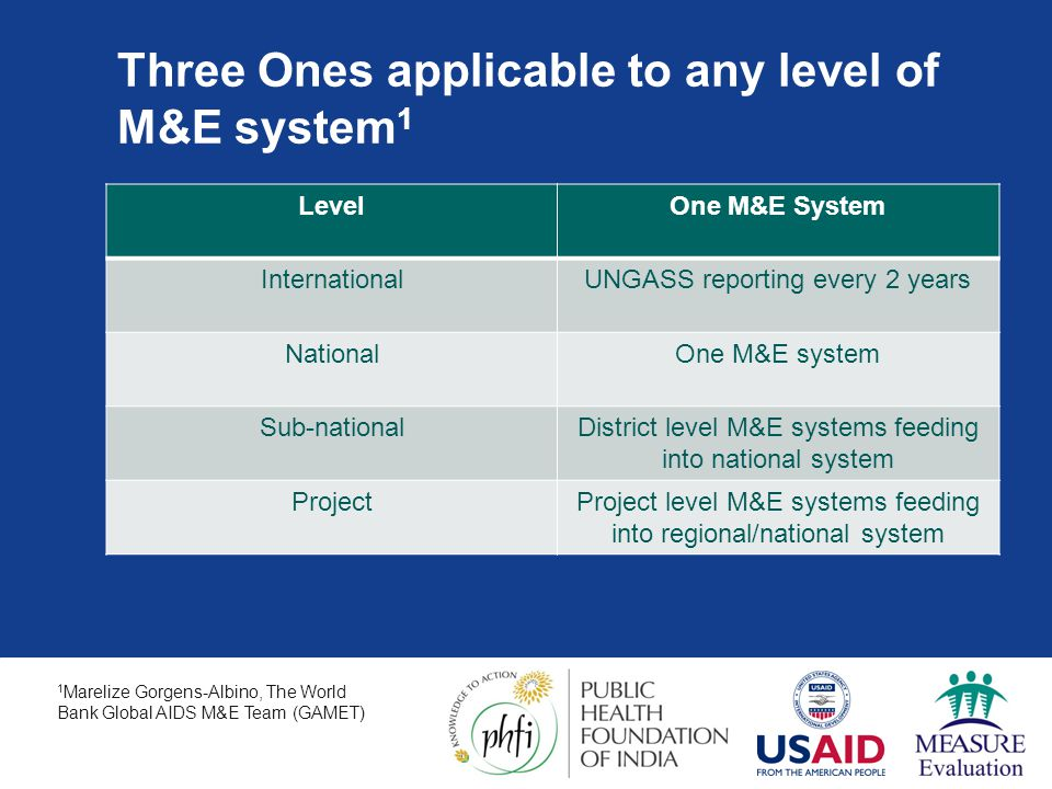 Three Ones applicable to any level of M&E system1