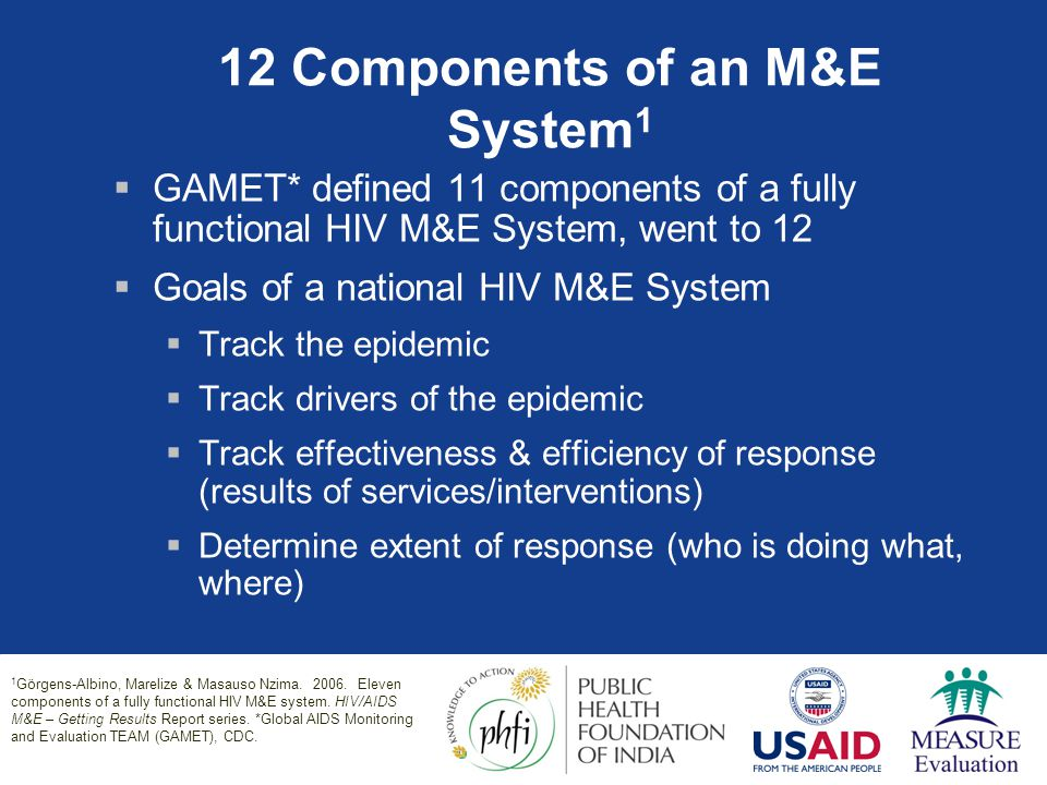 12 Components of an M&E System1