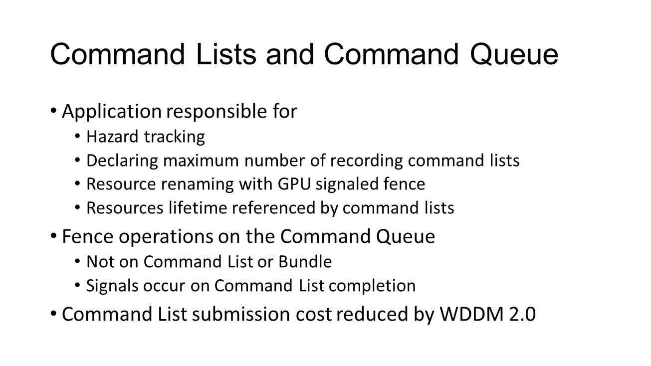 Command Lists and Command Queue