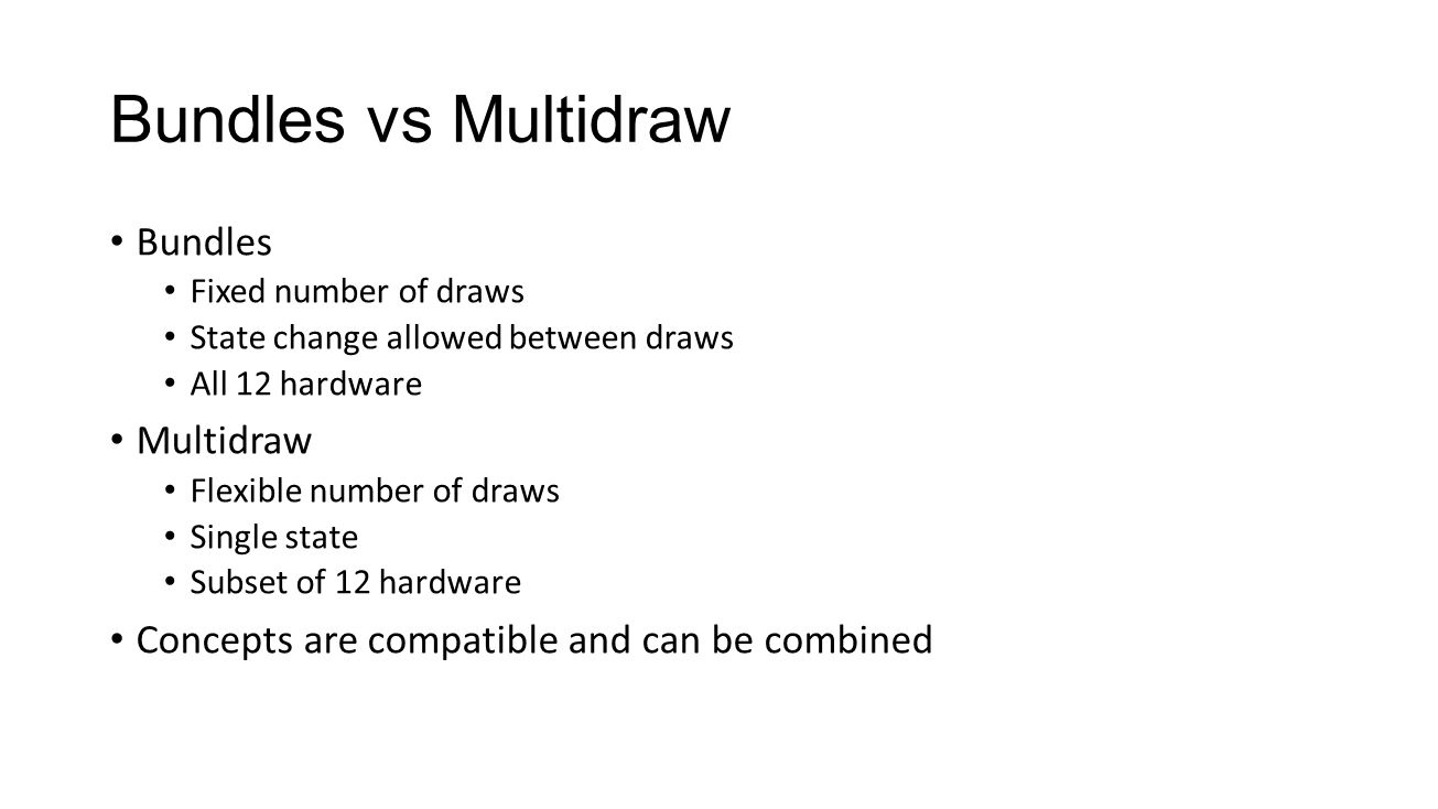 Bundles vs Multidraw Bundles Multidraw