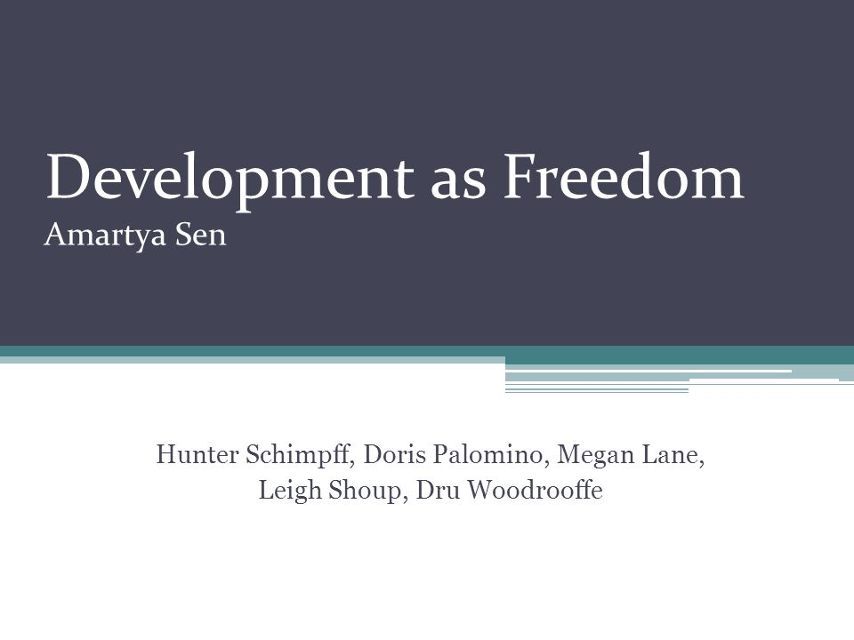 Development as Freedom Amartya Sen