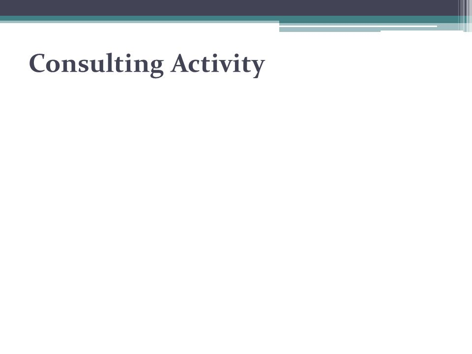 Consulting Activity