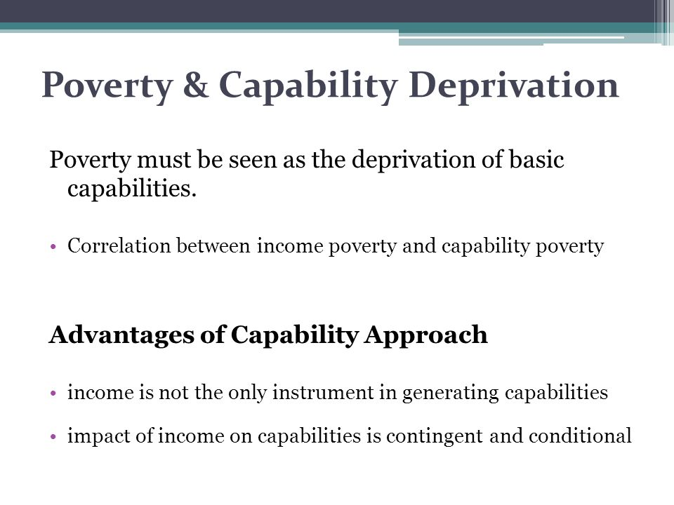 Poverty & Capability Deprivation