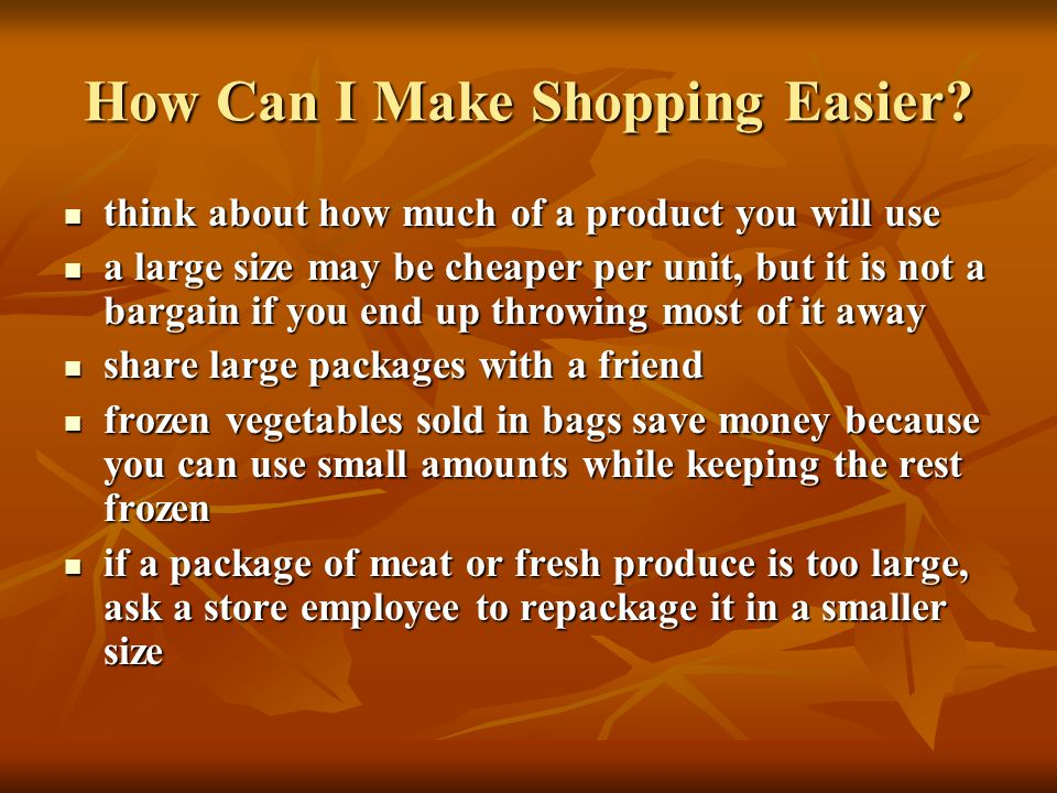 How Can I Make Shopping Easier
