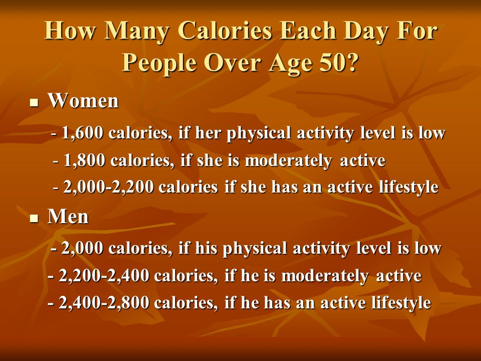 How Many Calories Each Day For People Over Age 50