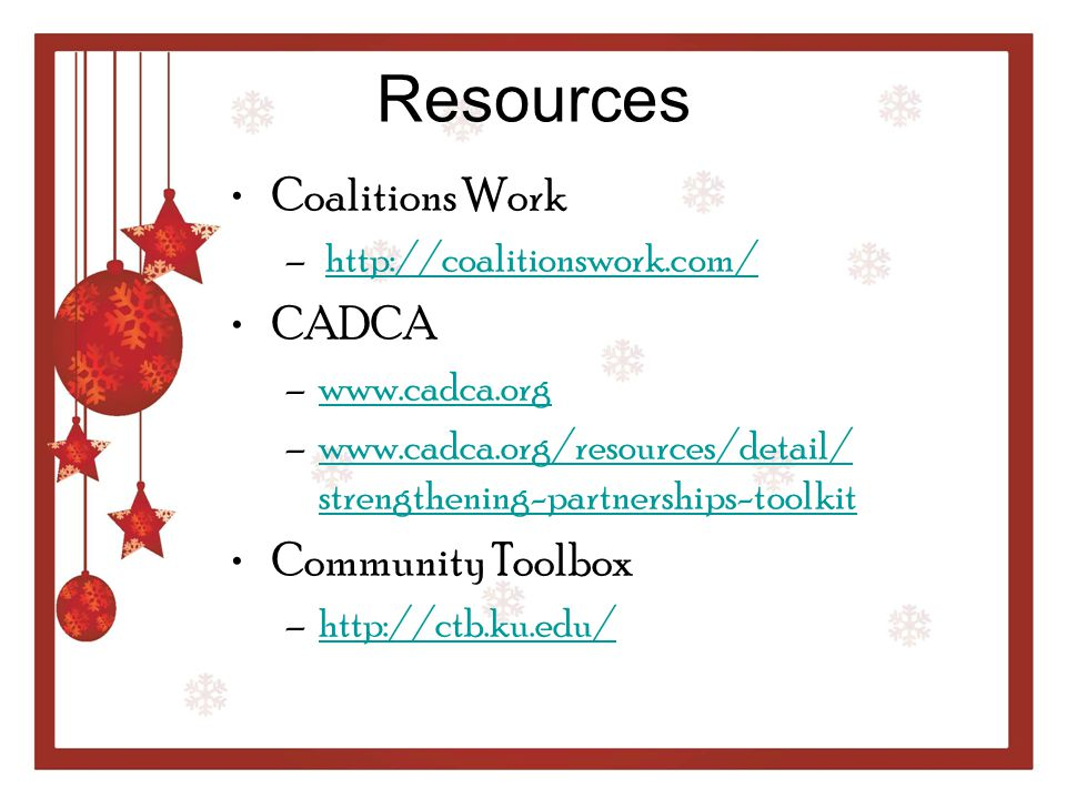 Resources Coalitions Work CADCA Community Toolbox