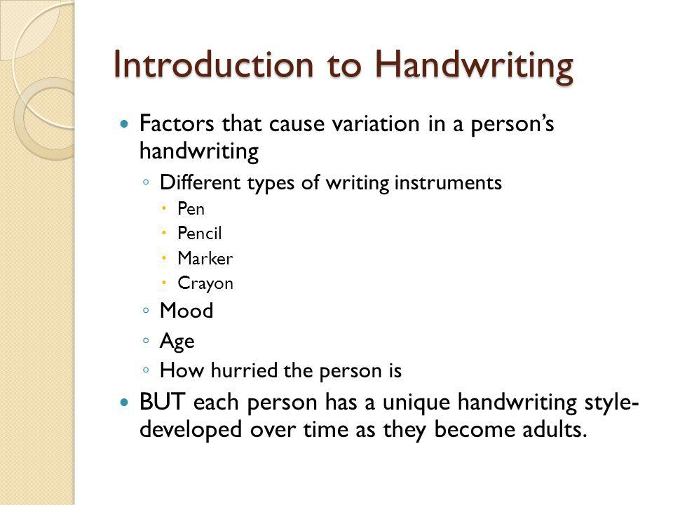 Introduction to Handwriting