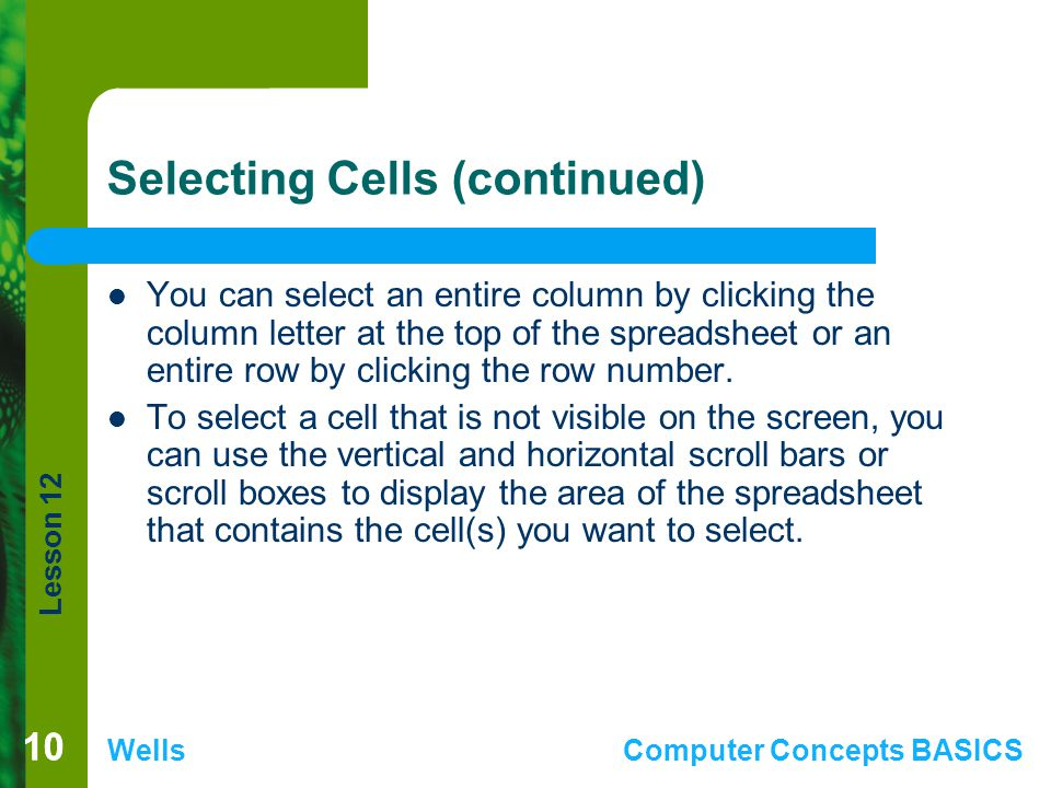 Selecting Cells (continued)