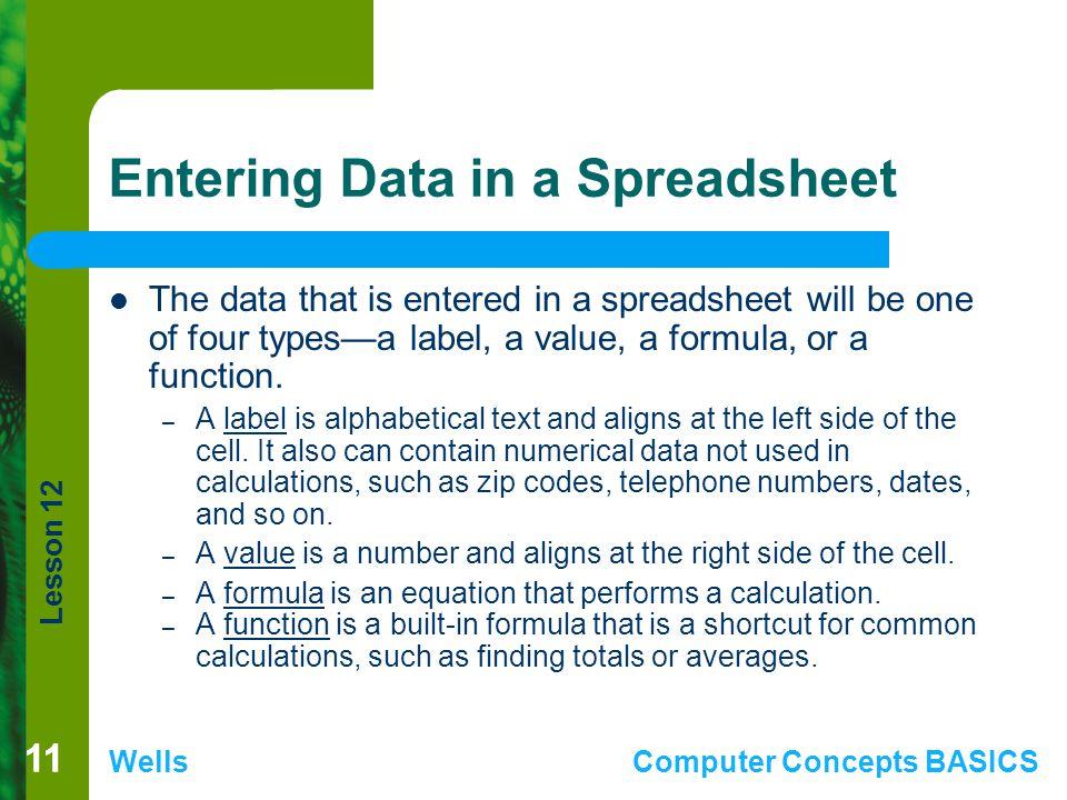 Entering Data in a Spreadsheet