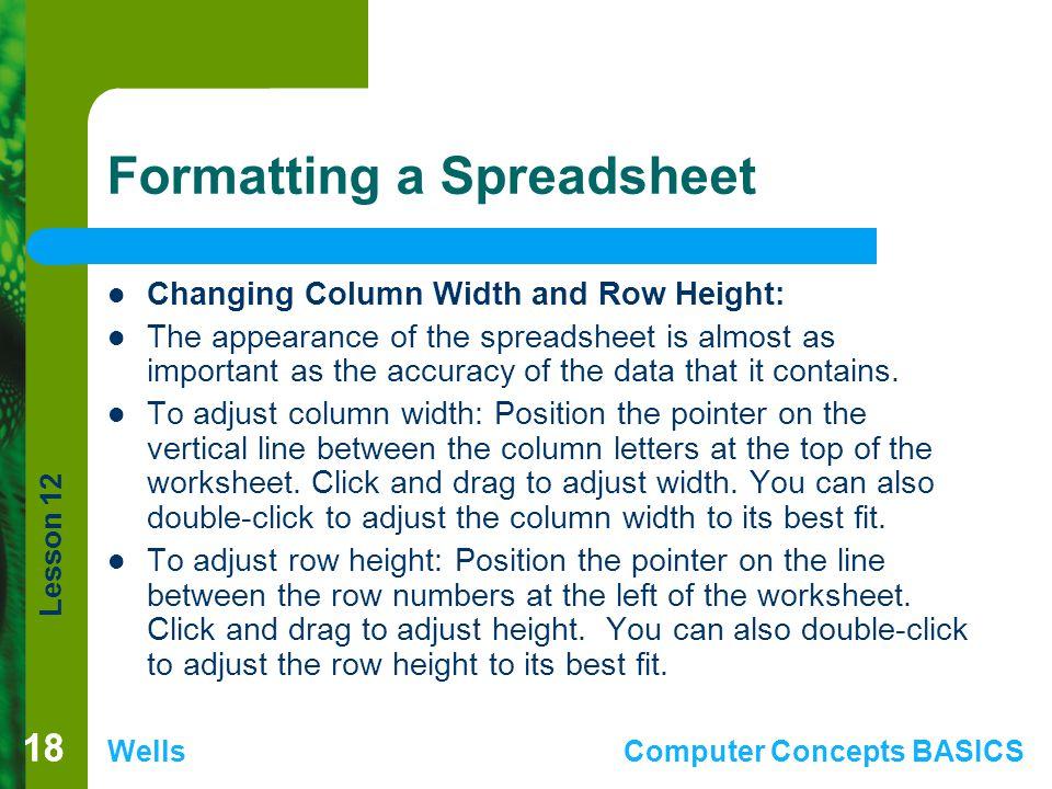 Formatting a Spreadsheet