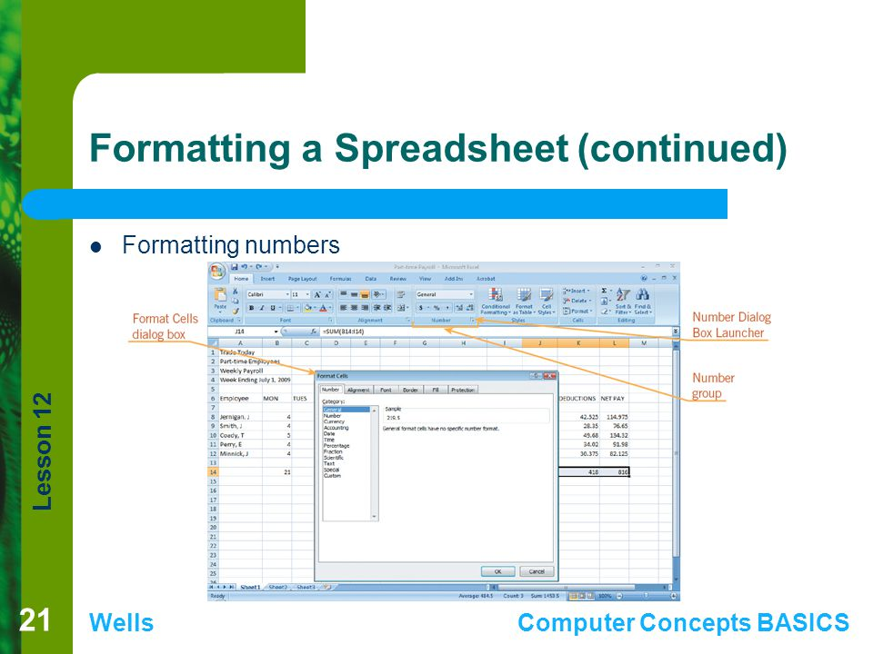 Formatting a Spreadsheet (continued)