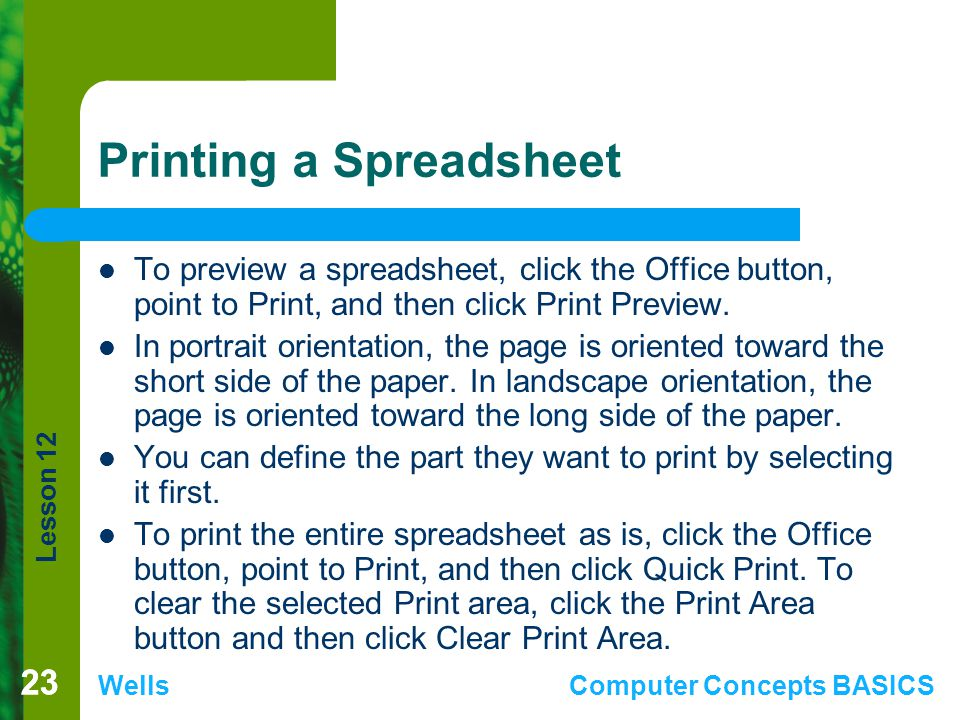 Printing a Spreadsheet