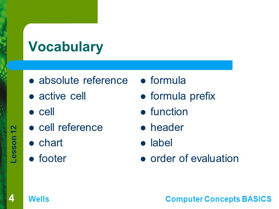 Vocabulary absolute reference active cell cell cell reference chart
