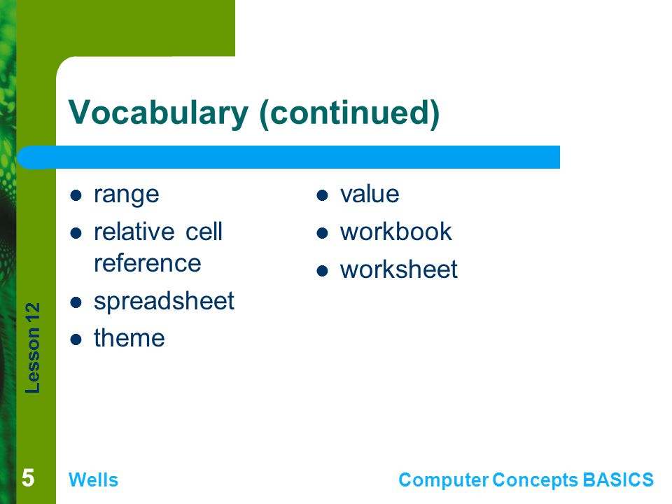 Vocabulary (continued)