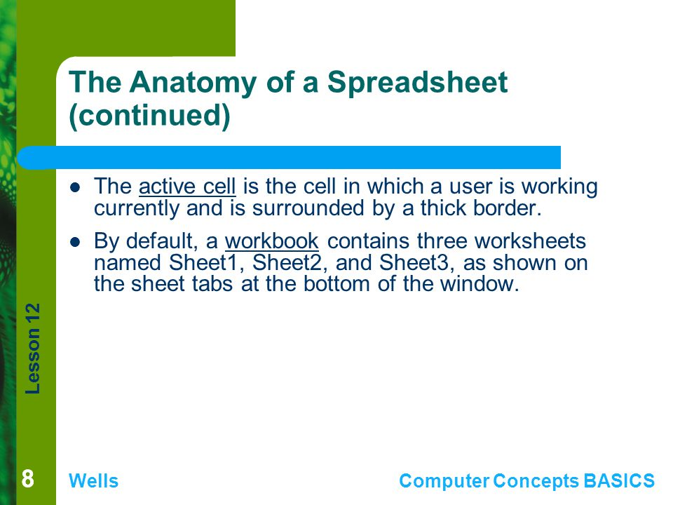 The Anatomy of a Spreadsheet (continued)