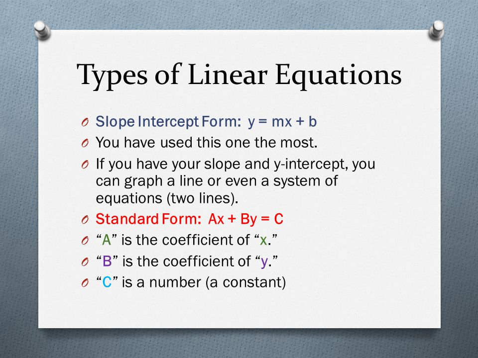 Types of Linear Equations