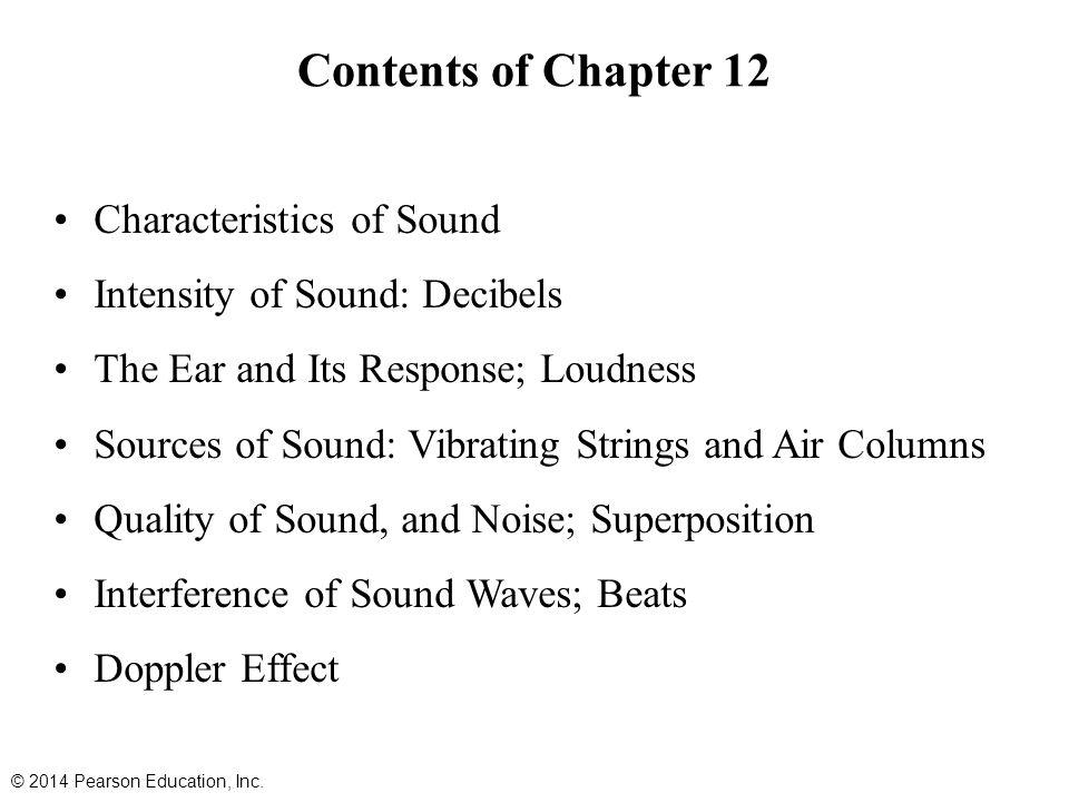 Contents of Chapter 12 Characteristics of Sound