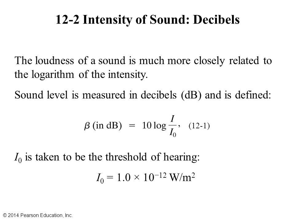 12-2 Intensity of Sound: Decibels
