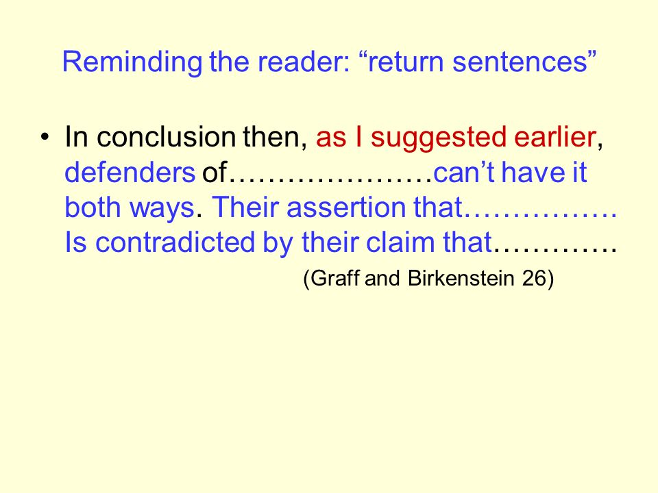 Reminding the reader: return sentences