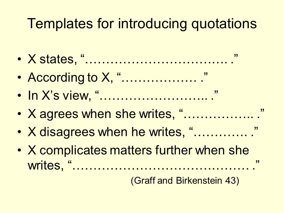 Templates for introducing quotations
