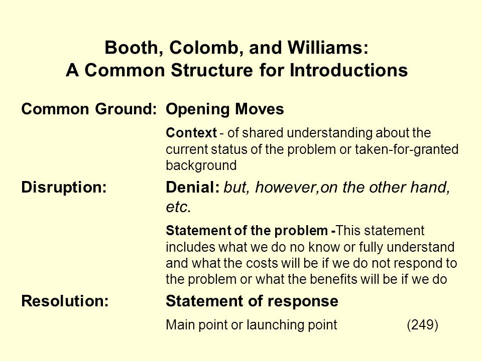 Booth, Colomb, and Williams: A Common Structure for Introductions