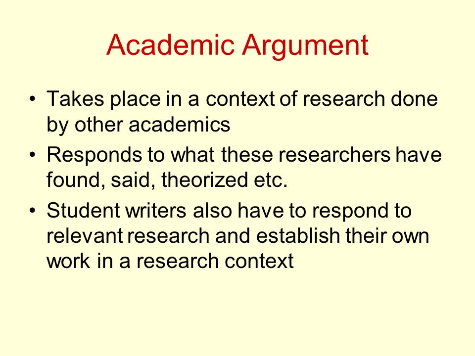 Academic Argument Takes place in a context of research done by other academics. Responds to what these researchers have found, said, theorized etc.