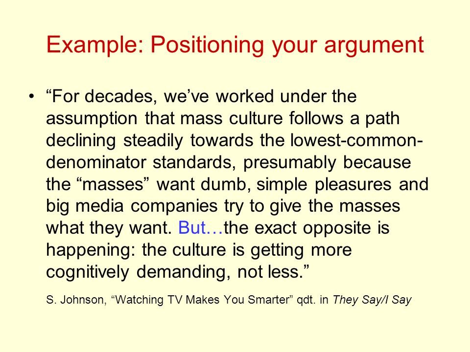 Example: Positioning your argument