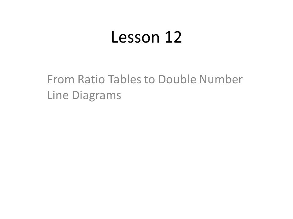 From Ratio Tables to Double Number Line Diagrams