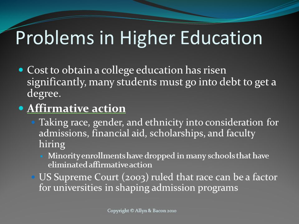Problems in Higher Education