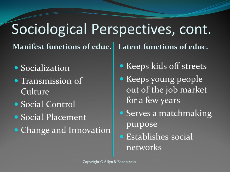 Sociological Perspectives, cont.