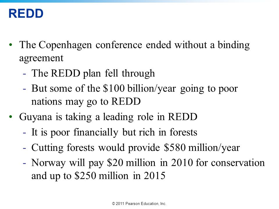 REDD The Copenhagen conference ended without a binding agreement