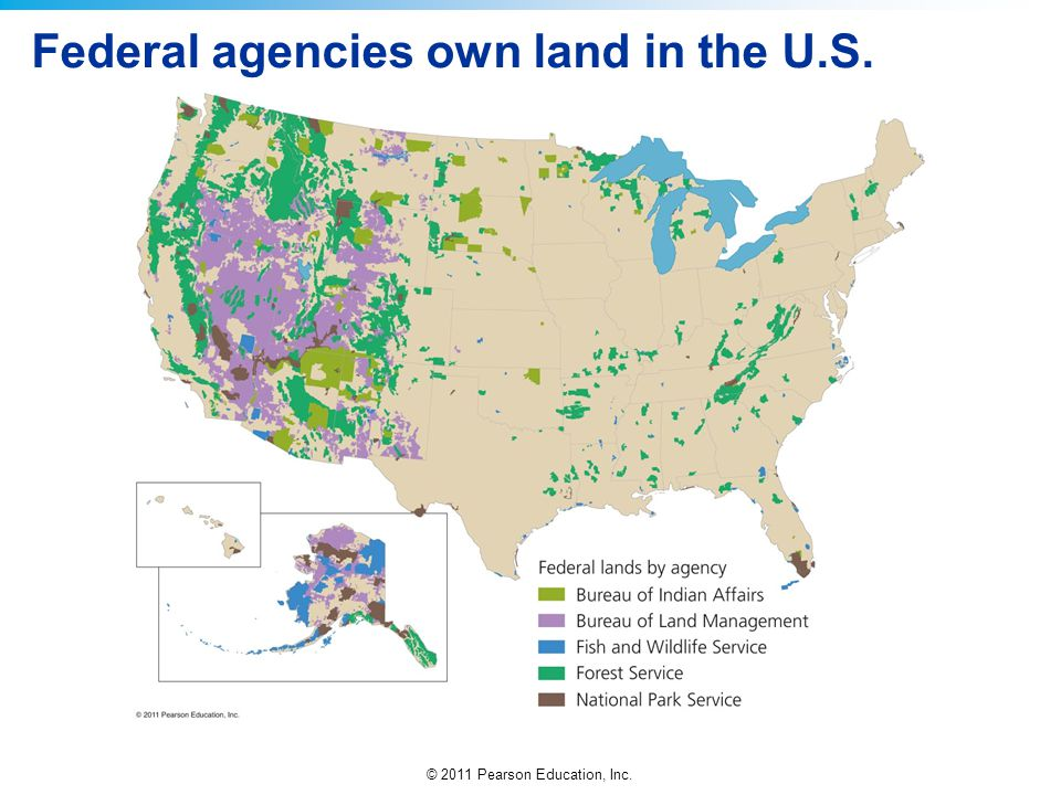 Federal agencies own land in the U.S.