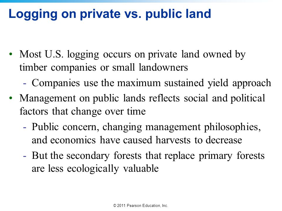 Logging on private vs. public land