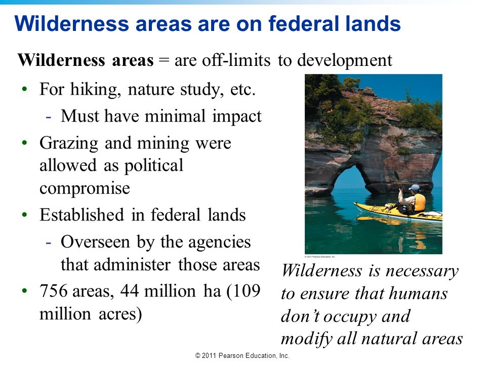 Wilderness areas are on federal lands