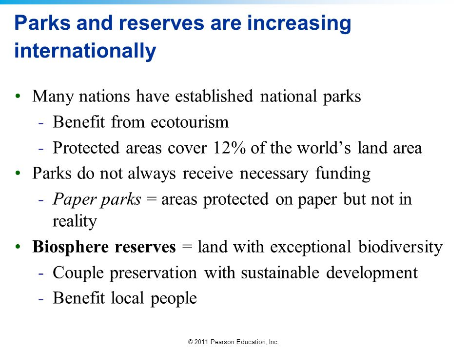 Parks and reserves are increasing internationally