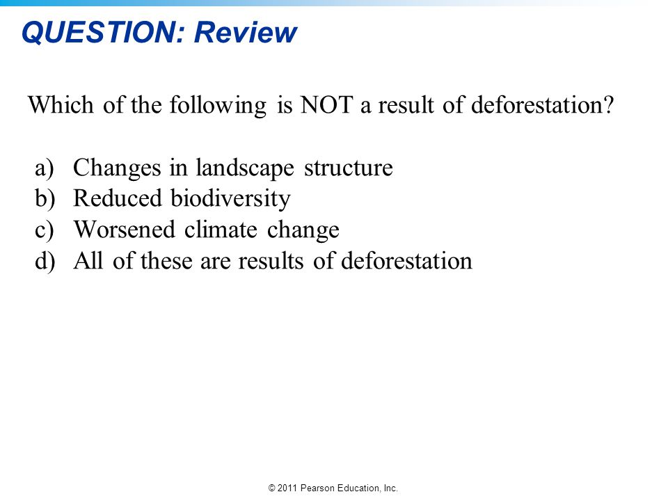 QUESTION: Review Which of the following is NOT a result of deforestation a) Changes in landscape structure.