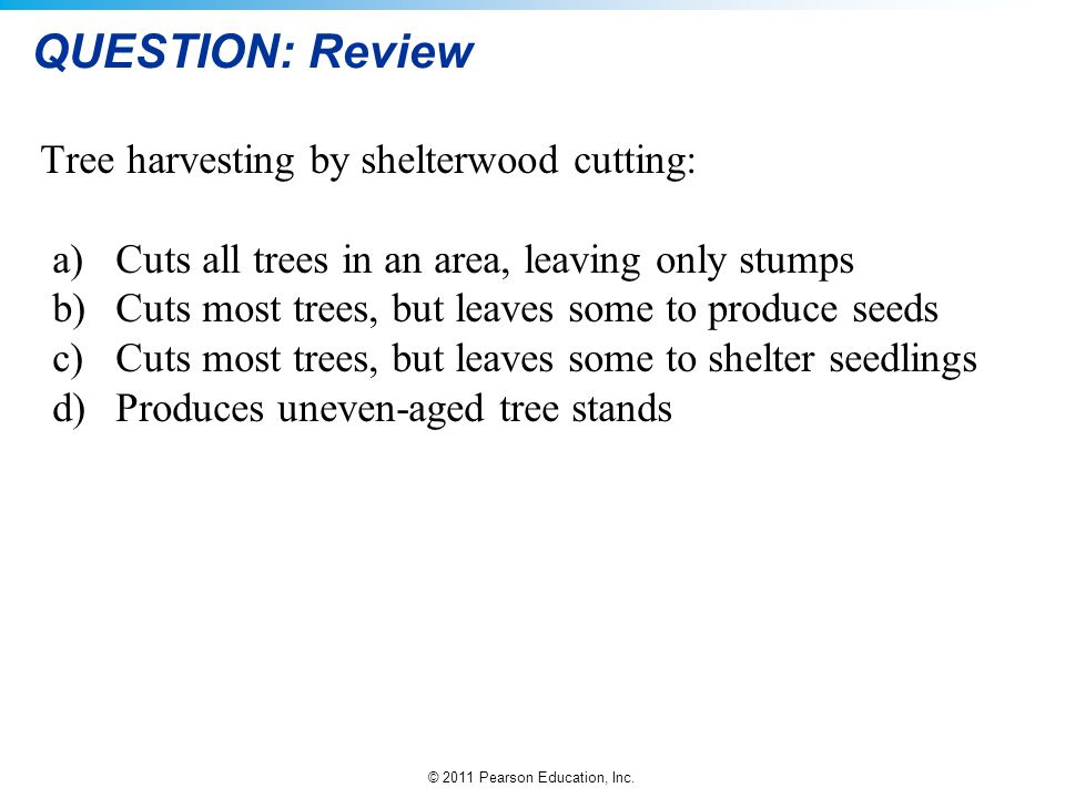 QUESTION: Review Tree harvesting by shelterwood cutting: